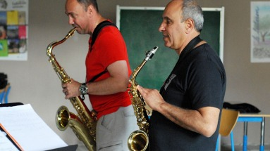 Stage jazz musicien saxophones batterie 2018 Luberon Provence