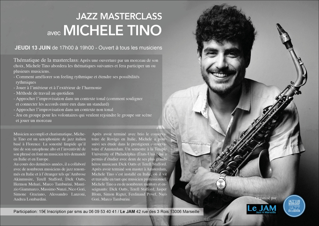 Jazz Masterclass Michele Tino Jazz'Lub Workshop Le Jam Marseille